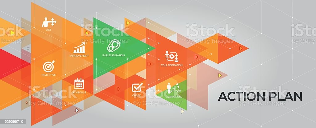 Action Plan banner and icons vector art illustration