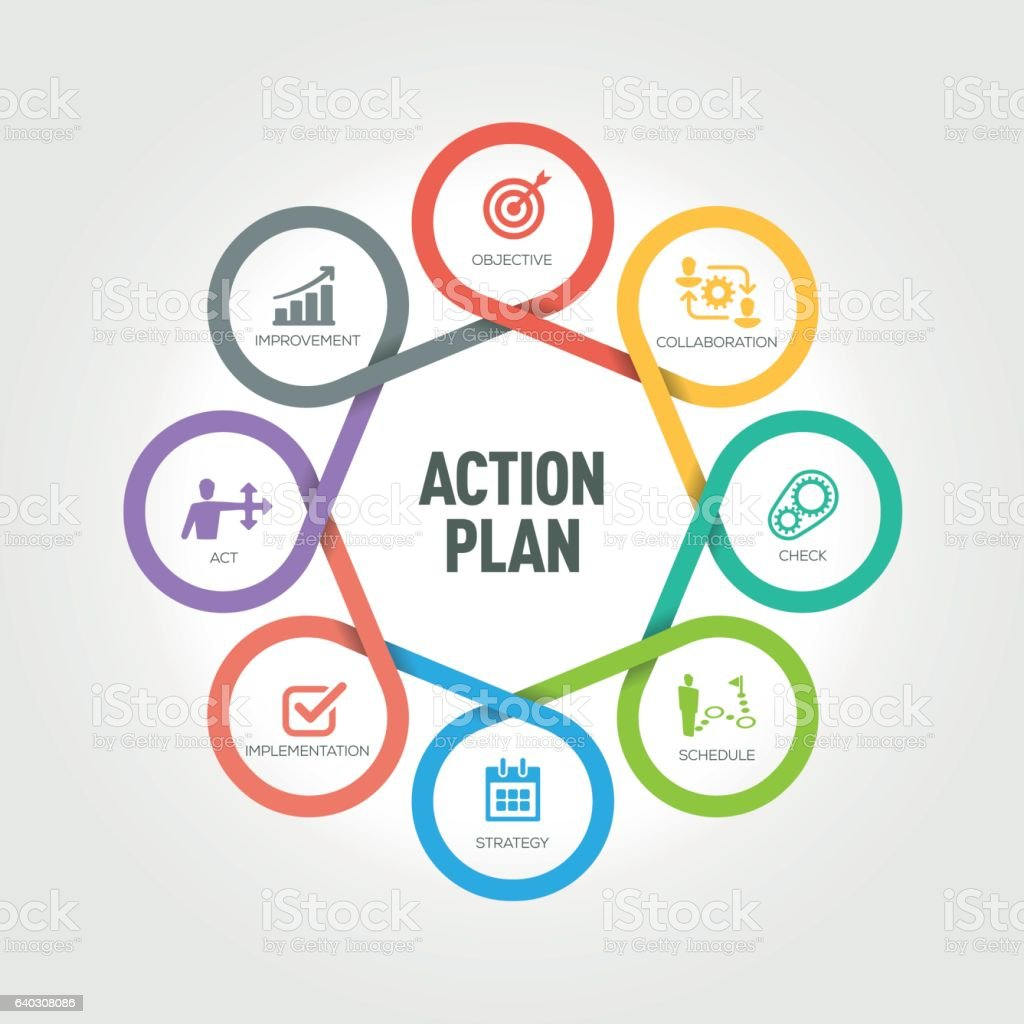 Action Plan infographic with 8 steps, parts, options vector art illustration