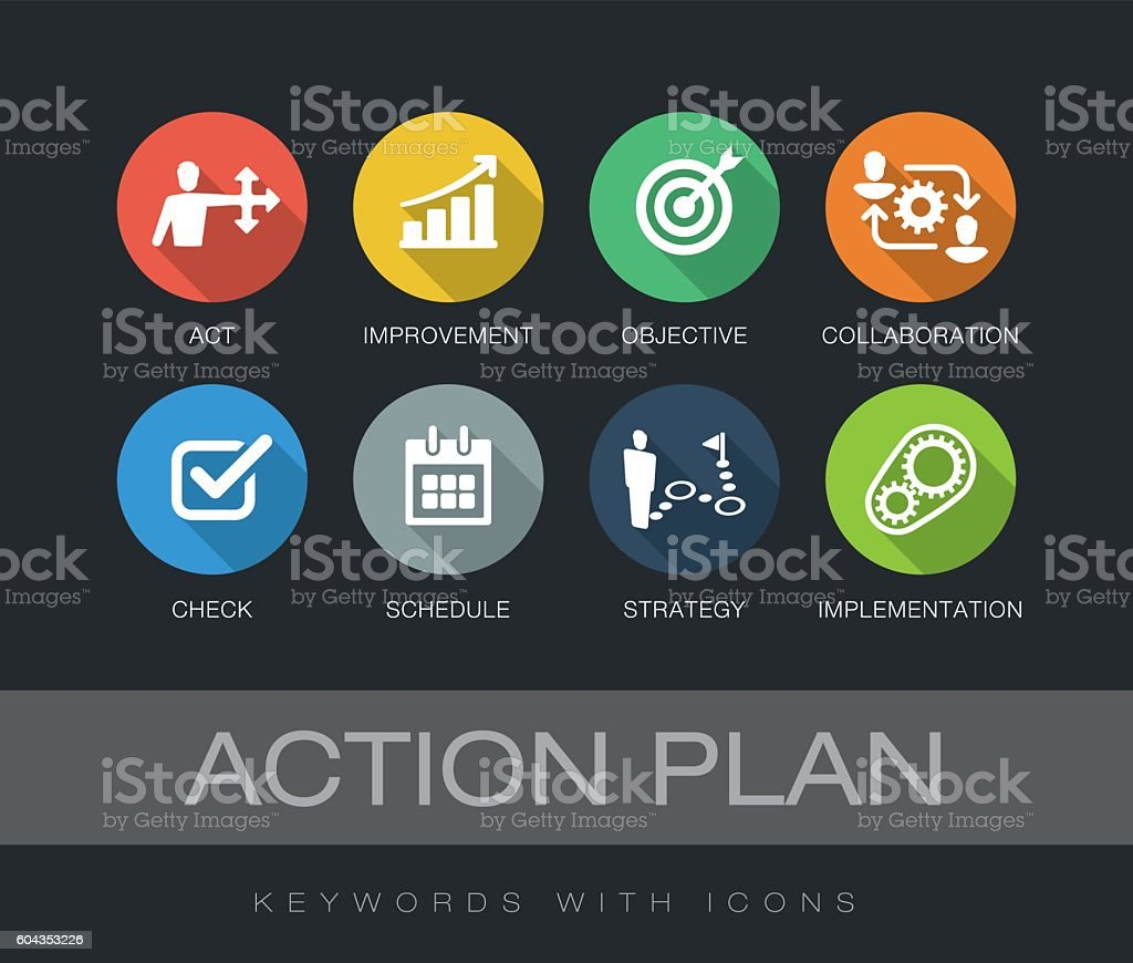 Action Plan keywords with icons vector art illustration