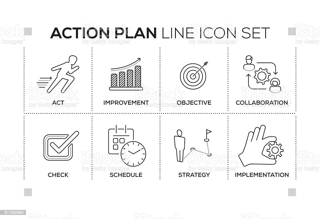 Action Plan keywords with monochrome line icons vector art illustration