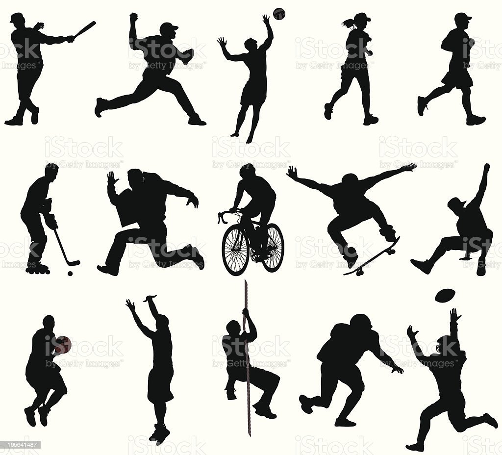 Action Sports Silhouettes vector art illustration