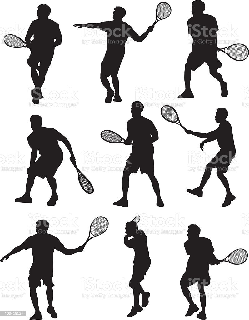 Action tennis players - vector royalty-free stock vector art