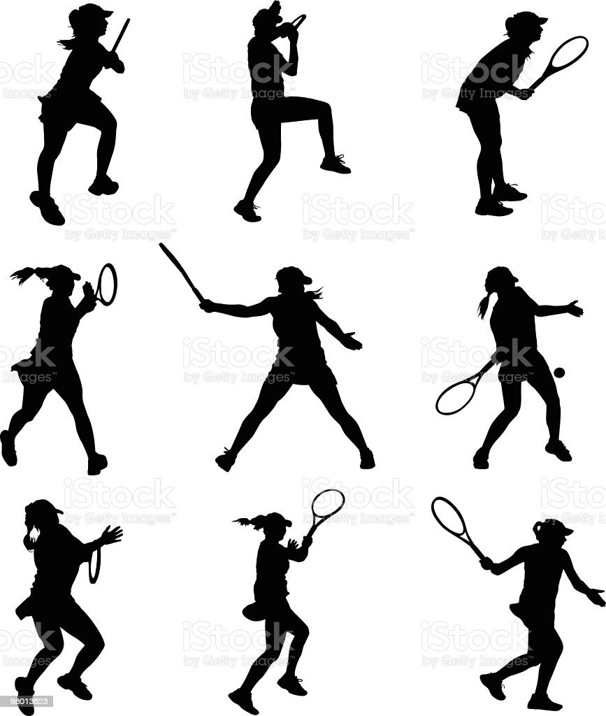 Active female tennis player royalty-free stock vector art