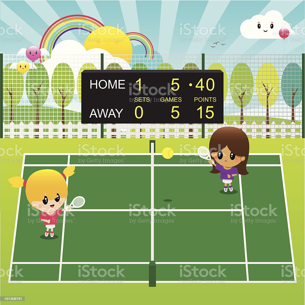 Active Girls Playing Tennis Outdoors in the Sunshine vector art illustration