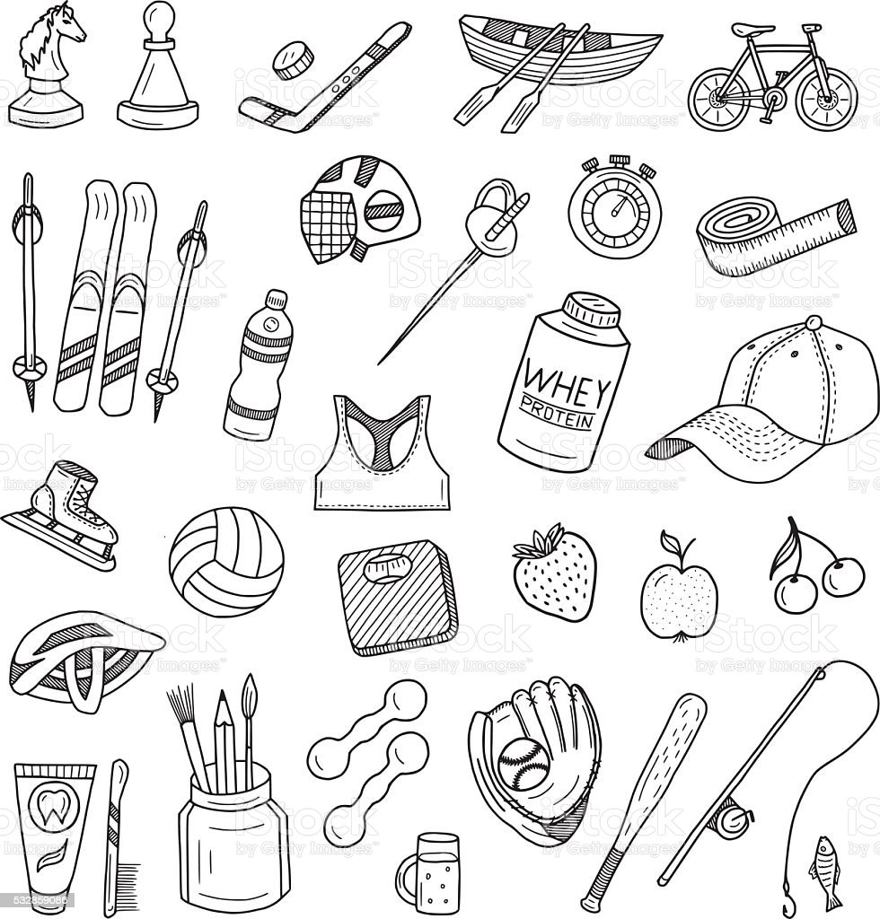 Active Lifestyle Doodles Set vector art illustration