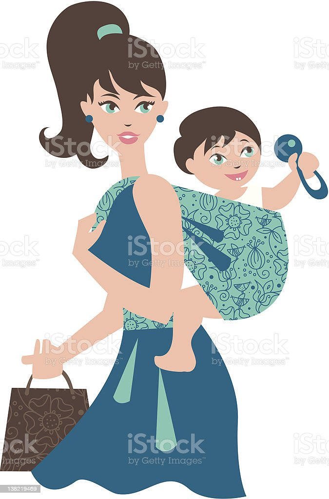 Active mother with baby in a sling royalty-free stock vector art