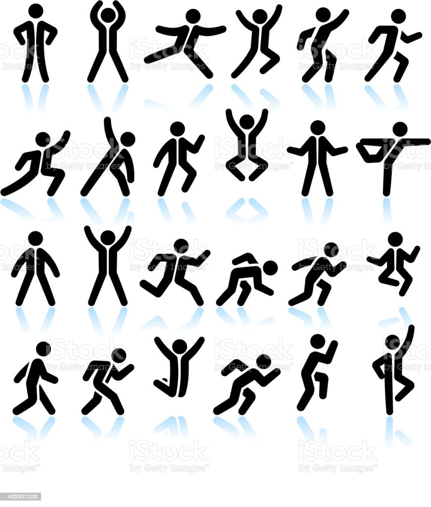 Active People Healthy Life black & white vector Icon set vector art illustration