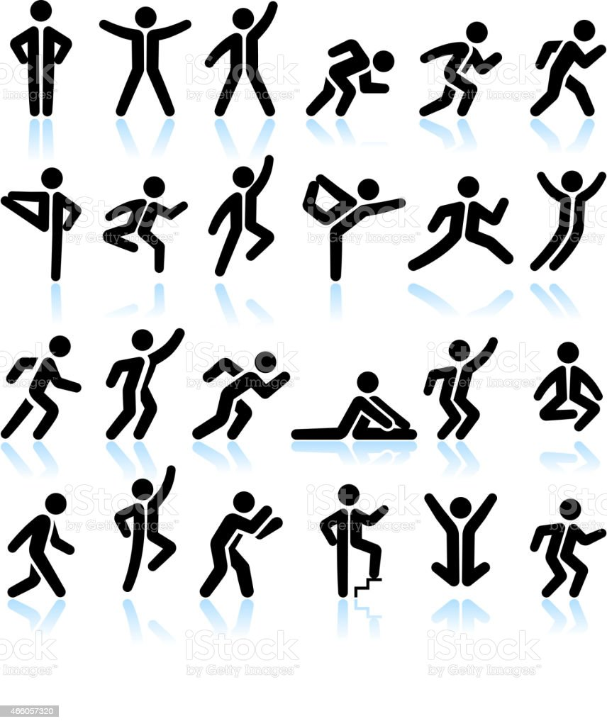 Active People Healthy Life royalty free vector interface icon Set vector art illustration