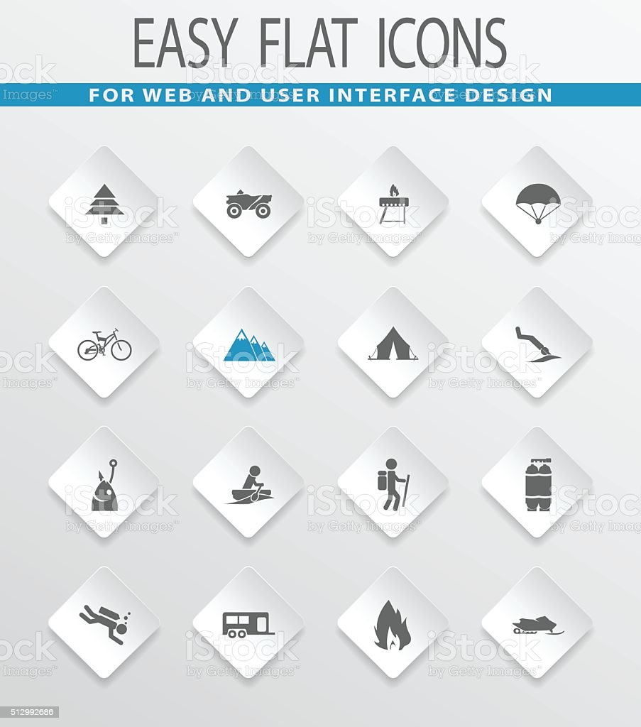 Active recreation icons set vector art illustration