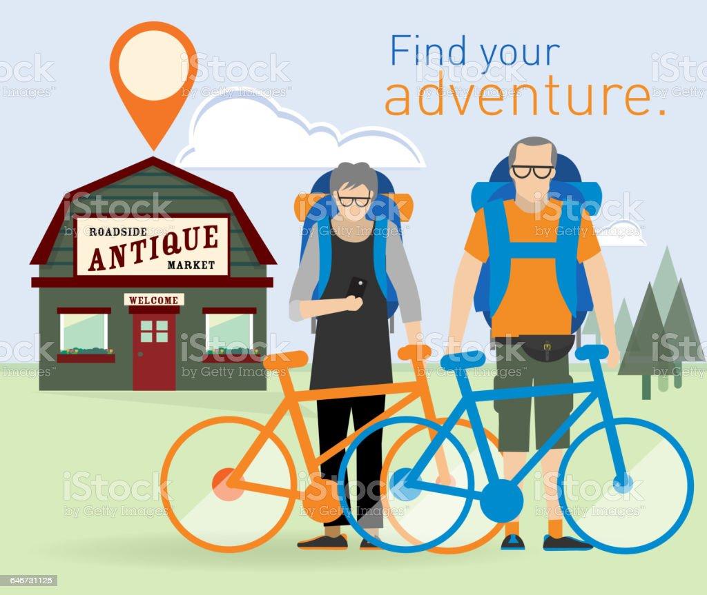 Active seniors on adventure vector art illustration