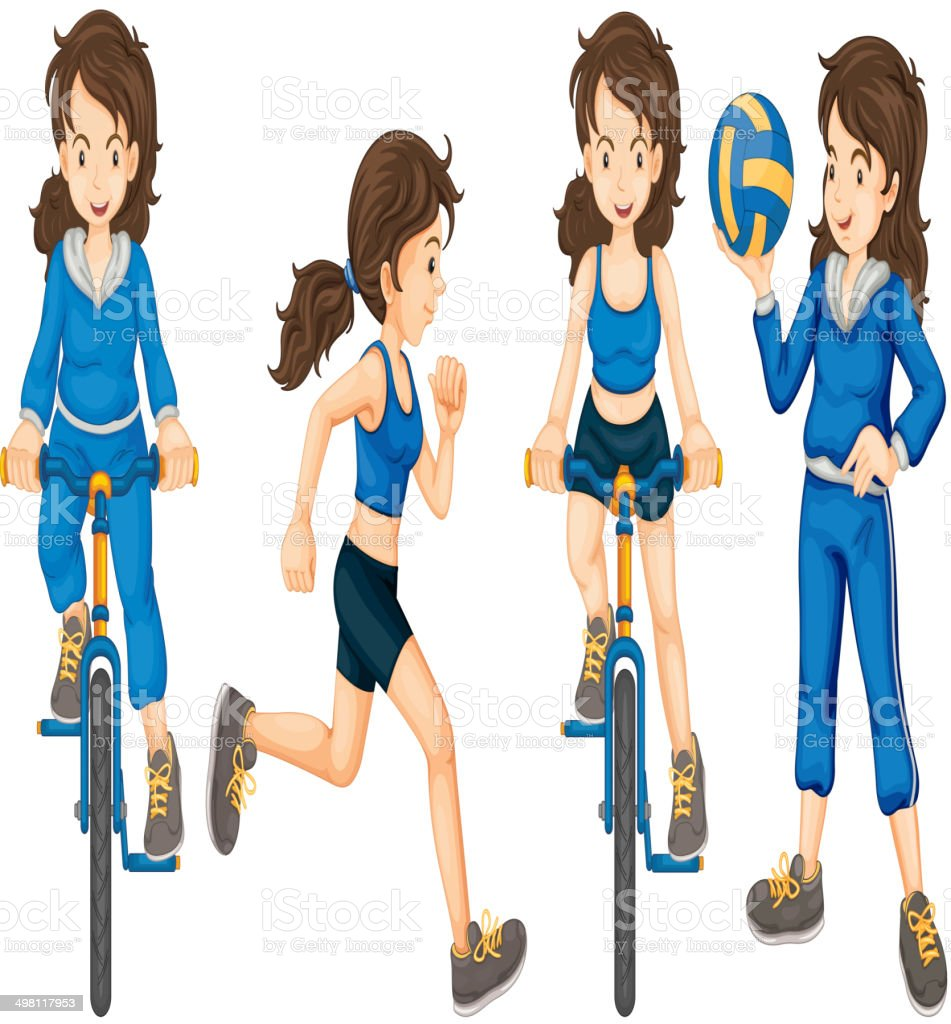 Active teenagers vector art illustration