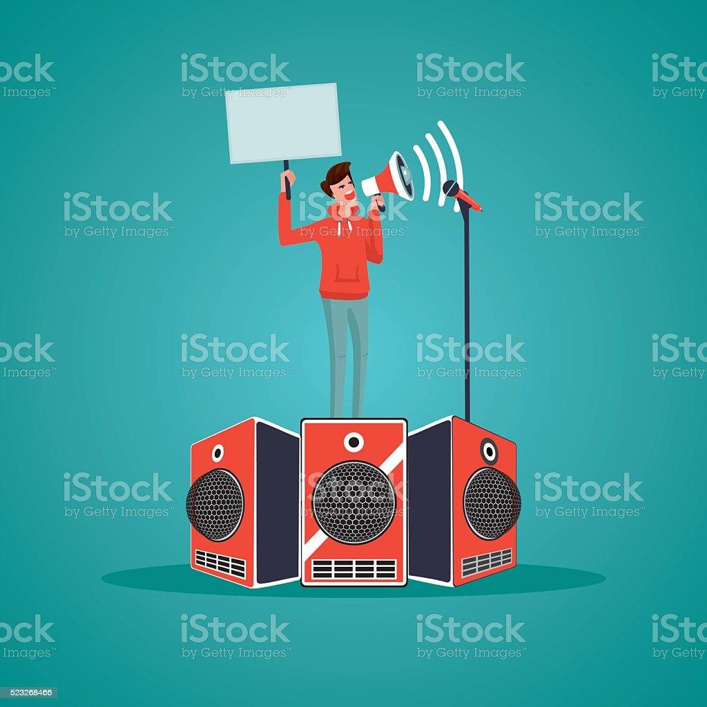 Activist. Man with megaphone and poster on a demonstration vector art illustration