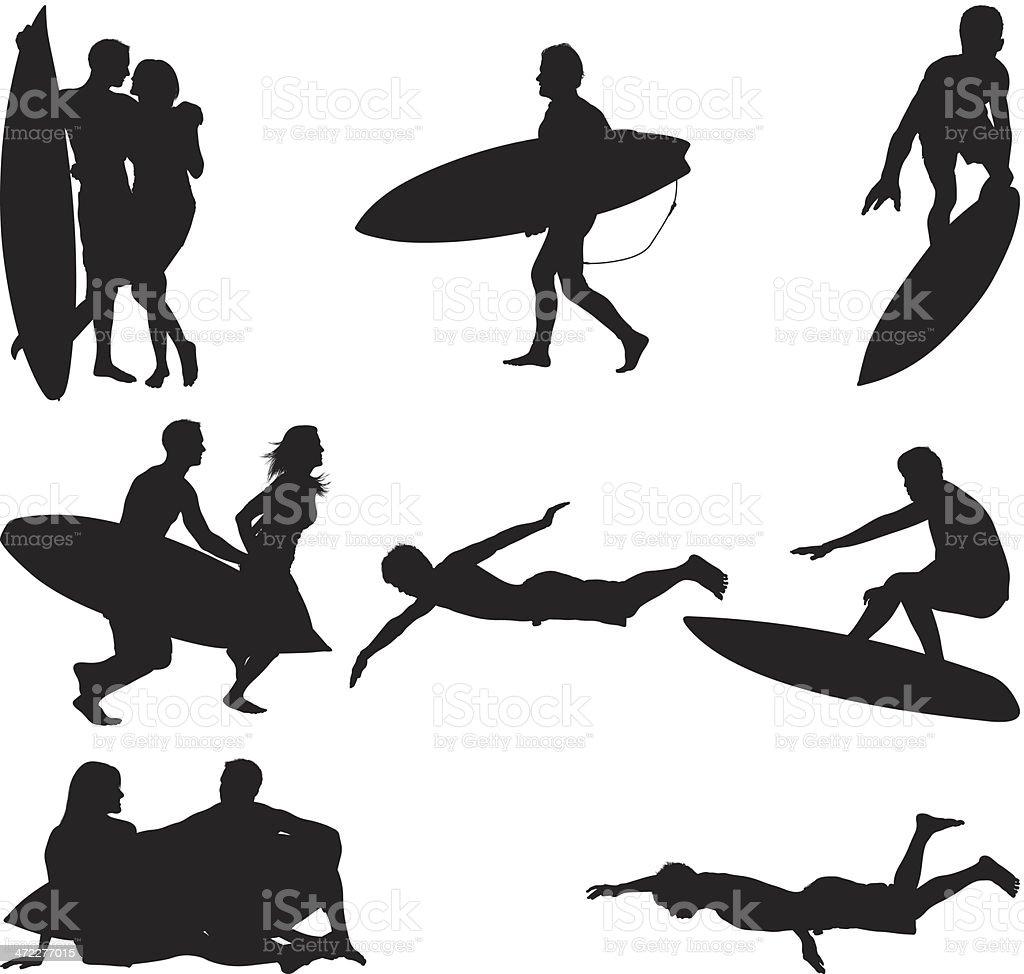 Activities at the beach summer fun vector art illustration