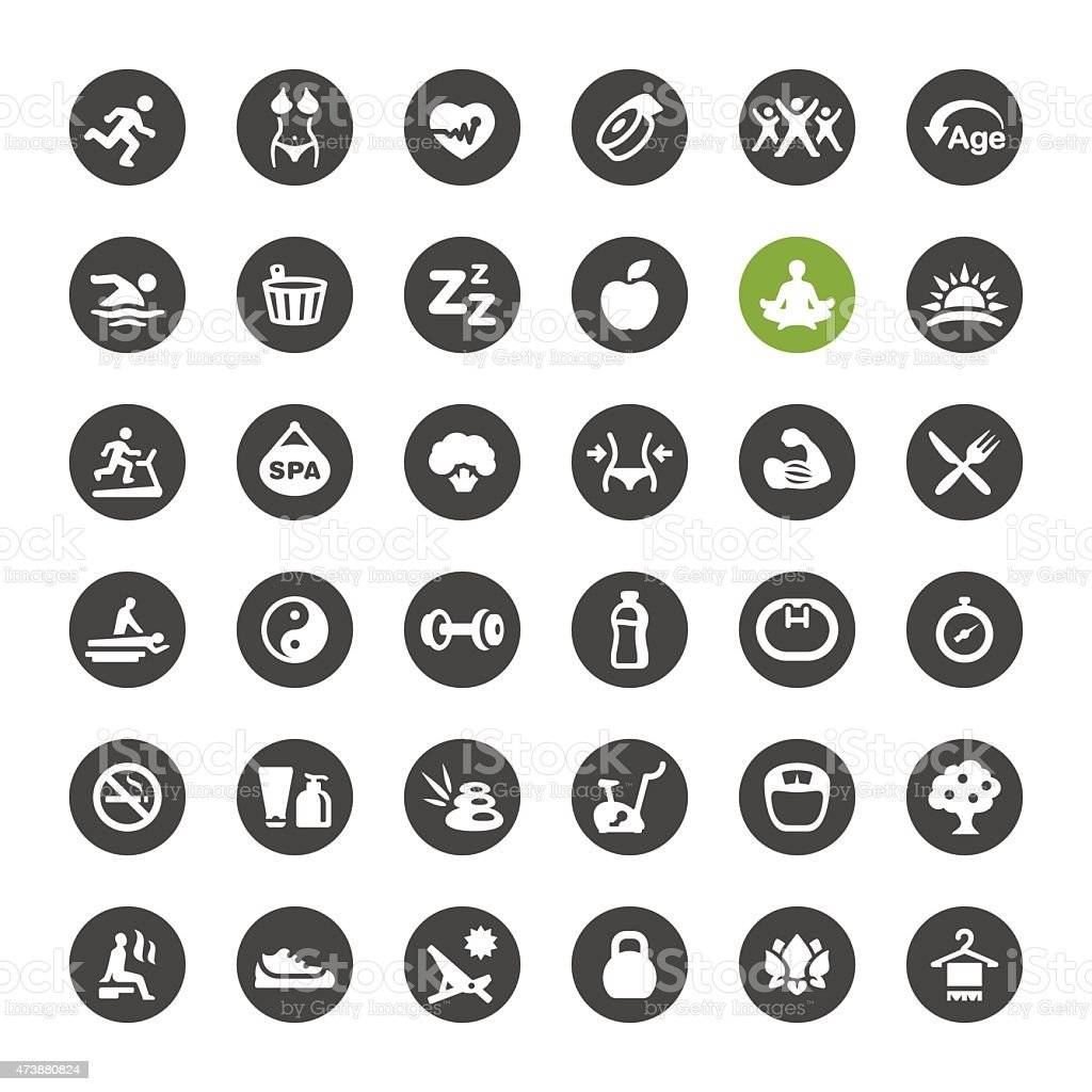 SPA, Activity and Healthy Lifestyle vector icons vector art illustration