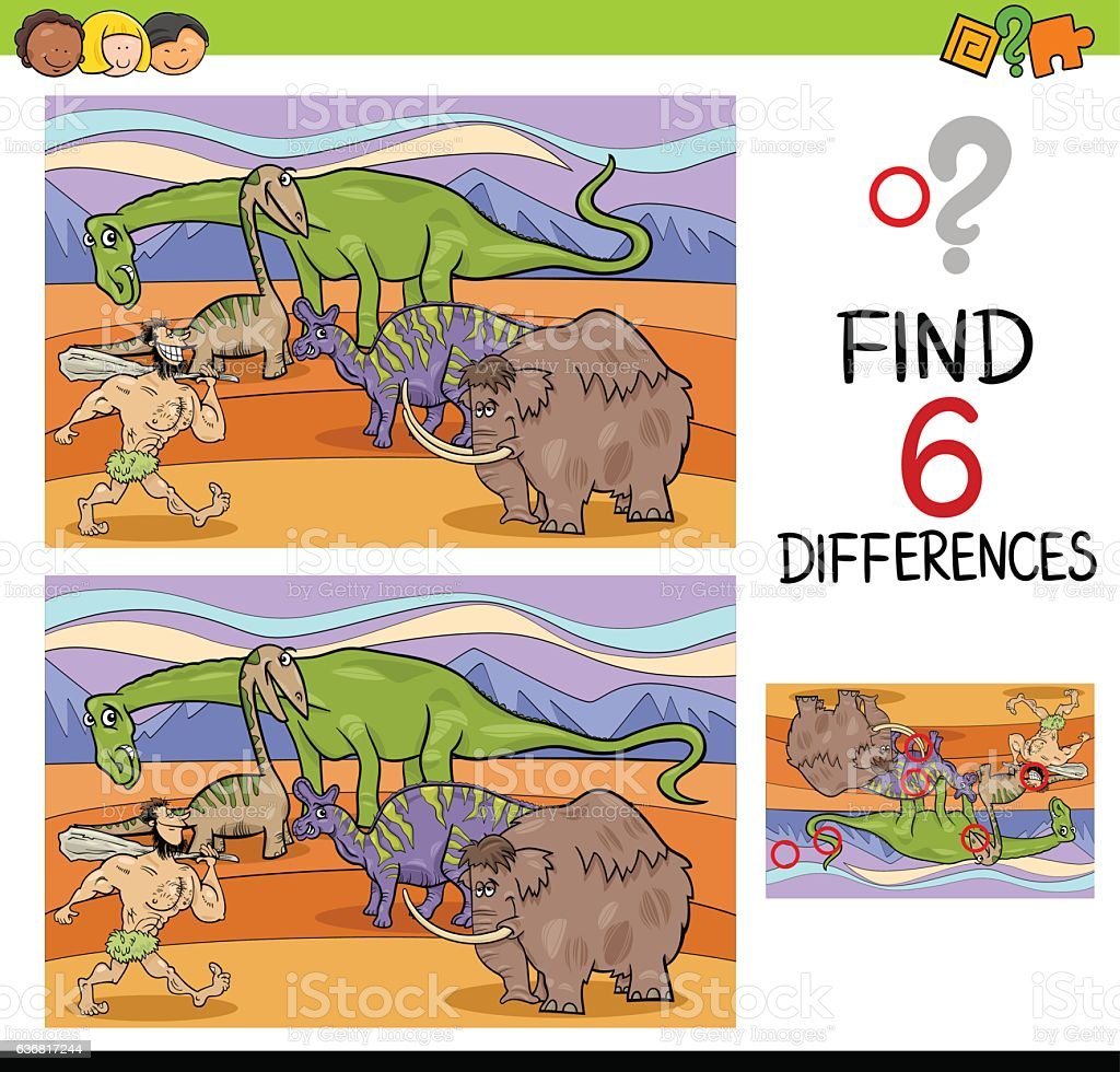 activity of differences for kids vector art illustration