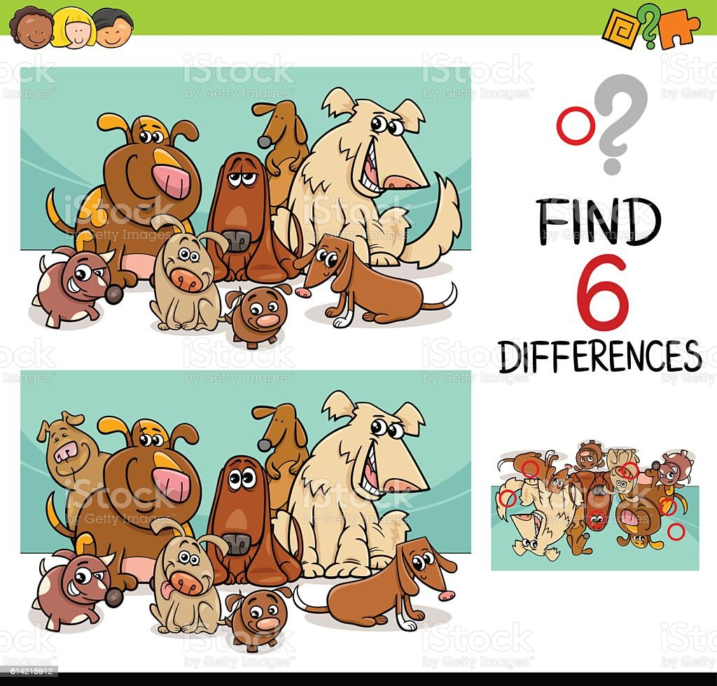 activity of differences with dogs vector art illustration