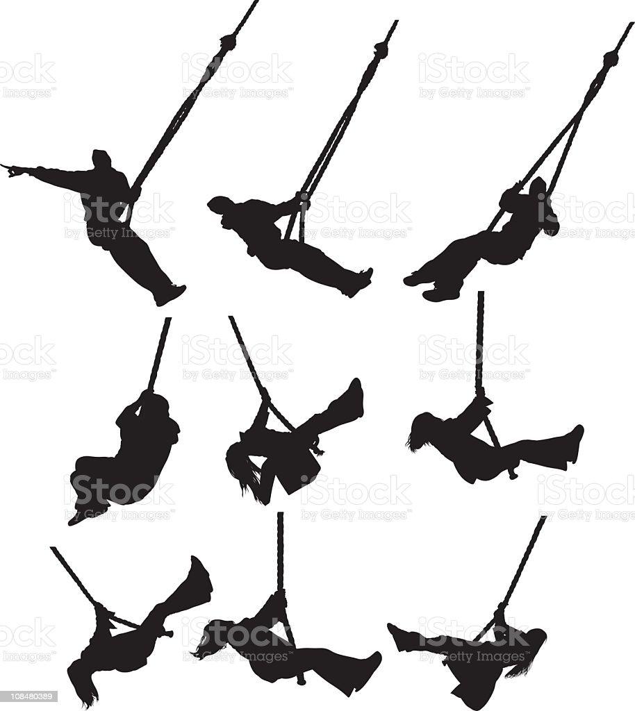 Activity on the swing vector art illustration