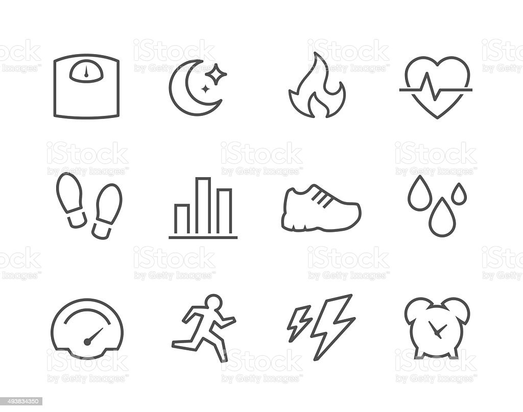 Activity Tracking Icons vector art illustration