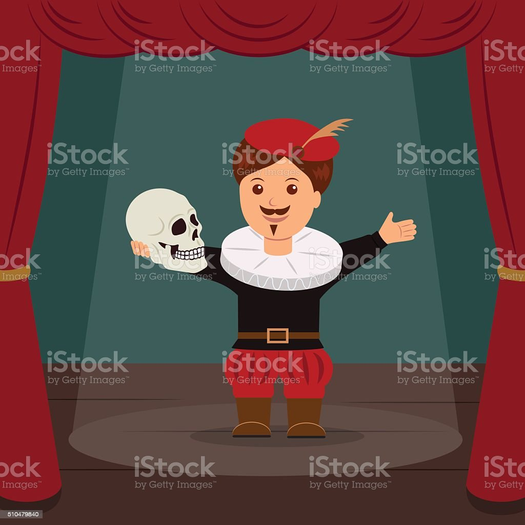 Actor on scene of the theater, playing a role Hamlet. vector art illustration