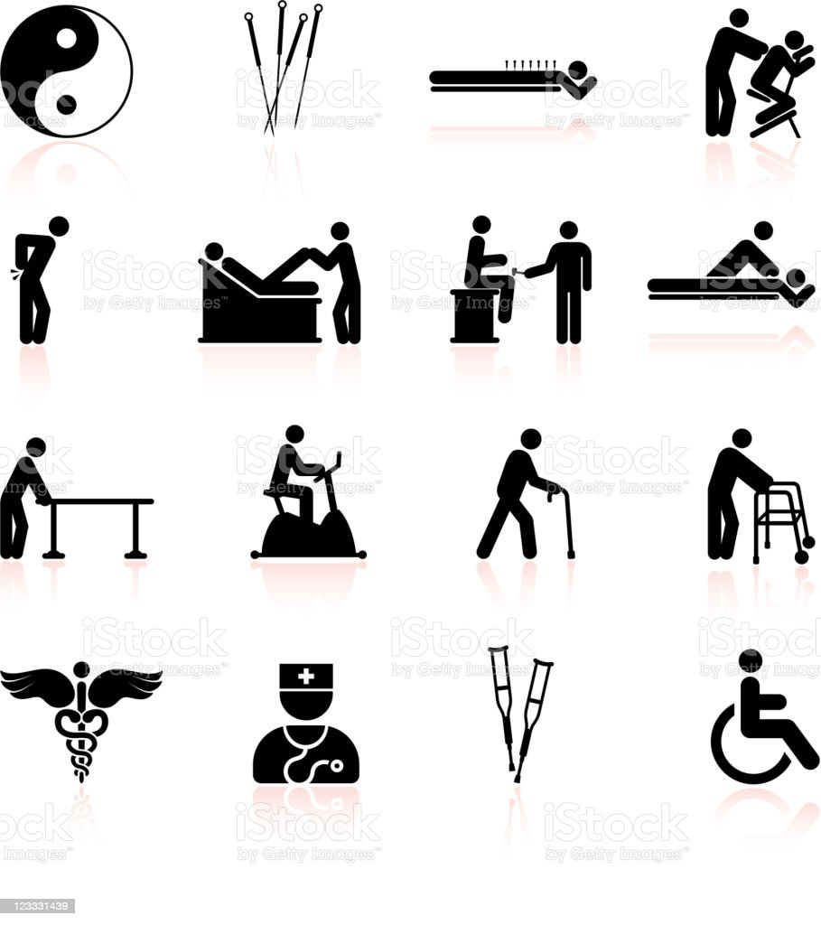 Acupuncture and physical therapy black & white icon set vector art illustration