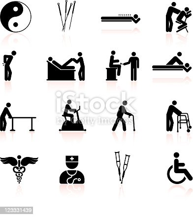 Acupuncture And Physical Therapy Black White Icon Set