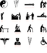 Acupuncture and physical therapy black & white icon set