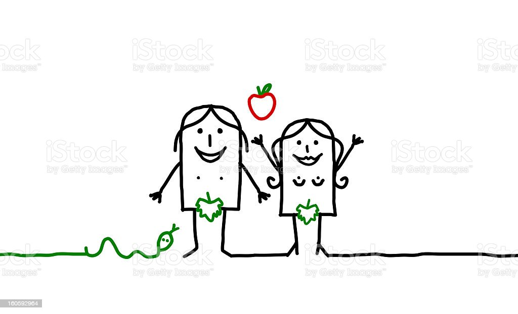 Adam & Eve royalty-free stock vector art