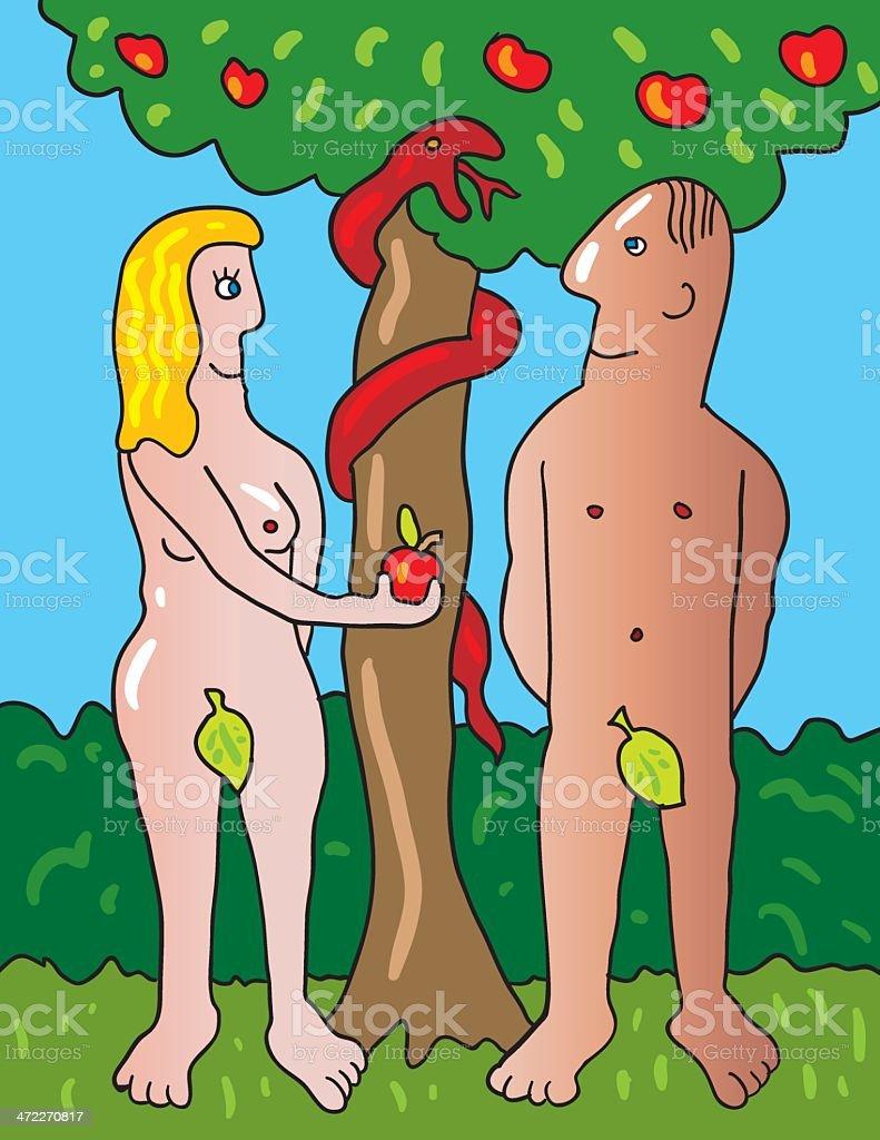 Adam and Eve in Garden of Eden vector art illustration