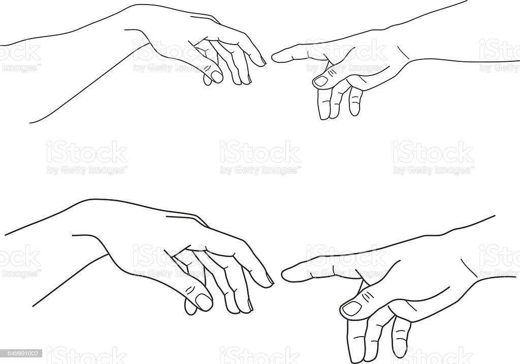Adam and God hands, touch, hope, help, vector illustration vetor e ilustração royalty-free royalty-free