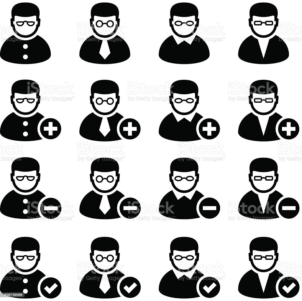 add delete person icons vector art illustration