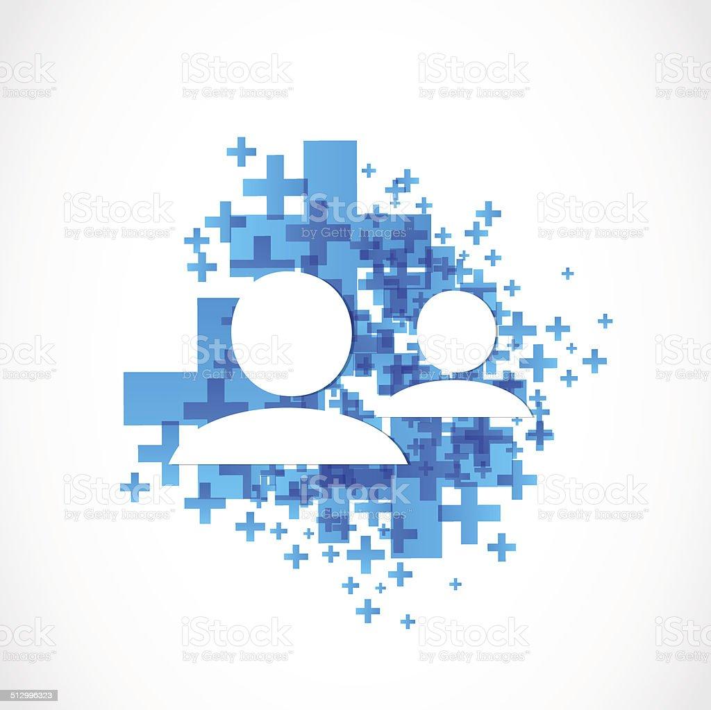 add friend social media contacting vector art illustration