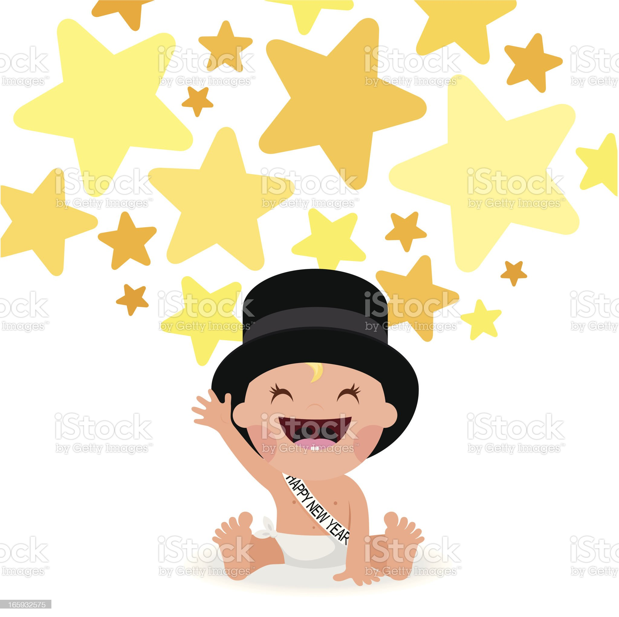 add happynewyear stars tophat baby illustration vector party myillo royalty-free stock vector art