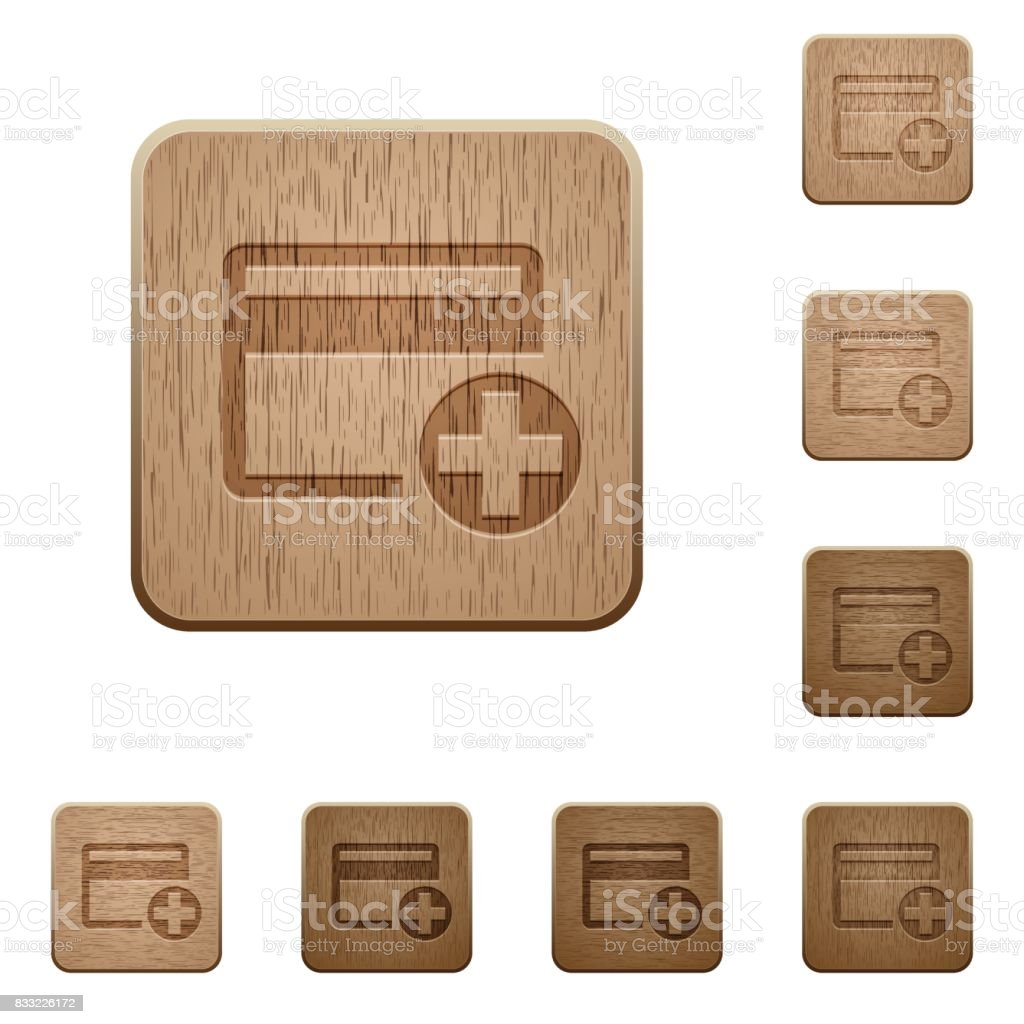 Add new credit card wooden buttons vector art illustration