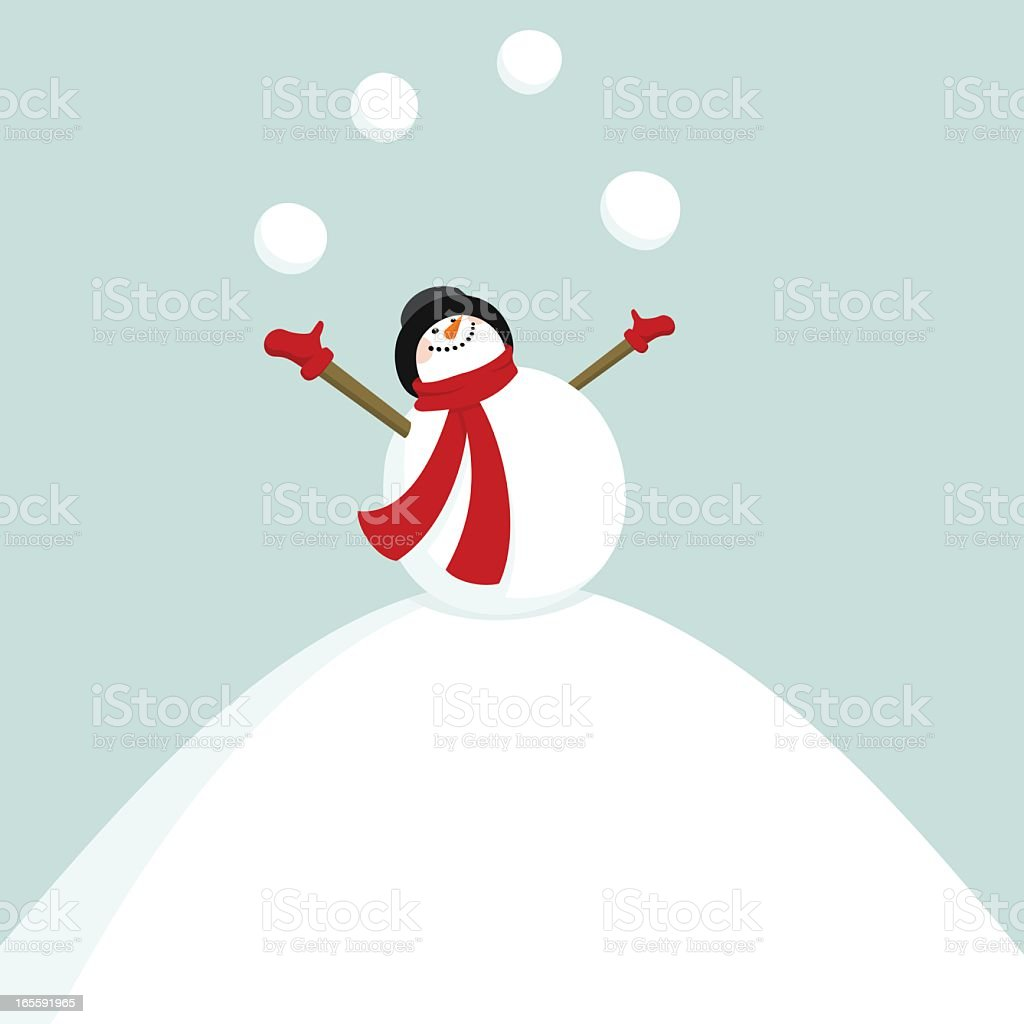 Add New Year on the snowballs / snowman juggler vector art illustration