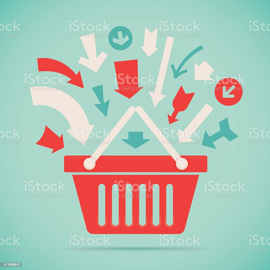 Add to Basket vector art illustration