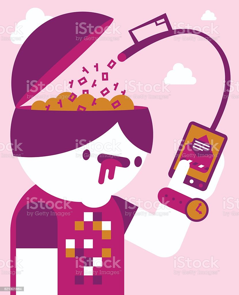 Addicted to the Smartphone vector art illustration