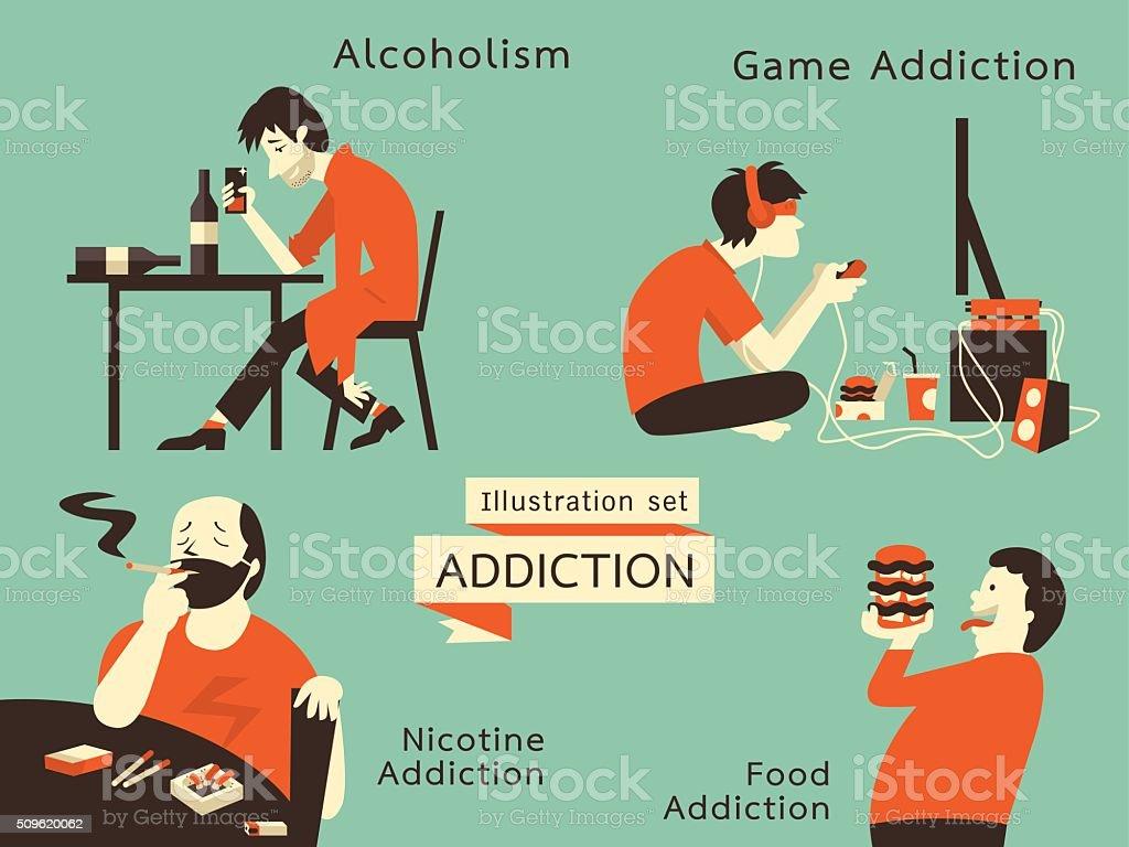 addiction lifestyle vector art illustration