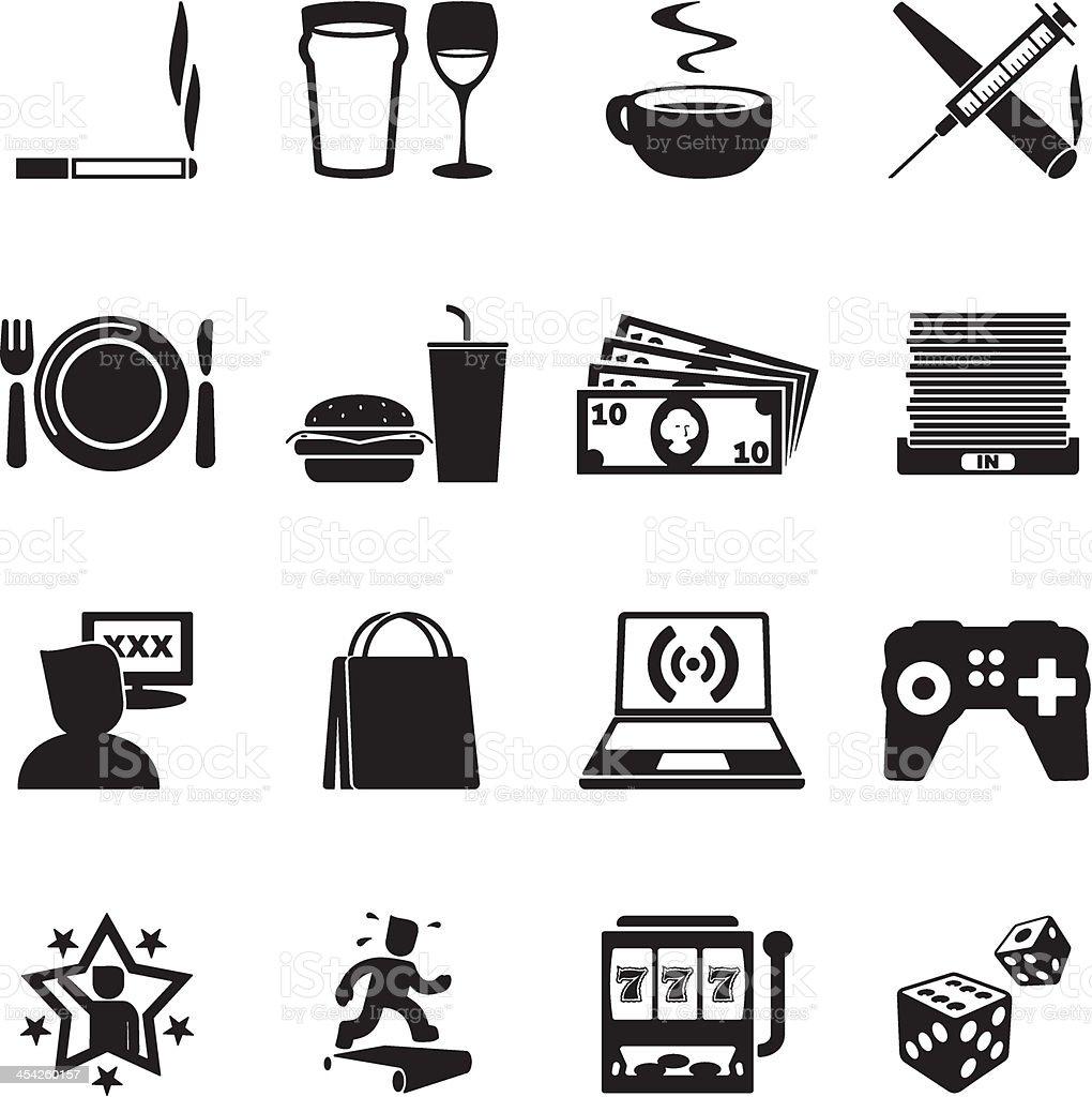 Addictions Icon Set vector art illustration