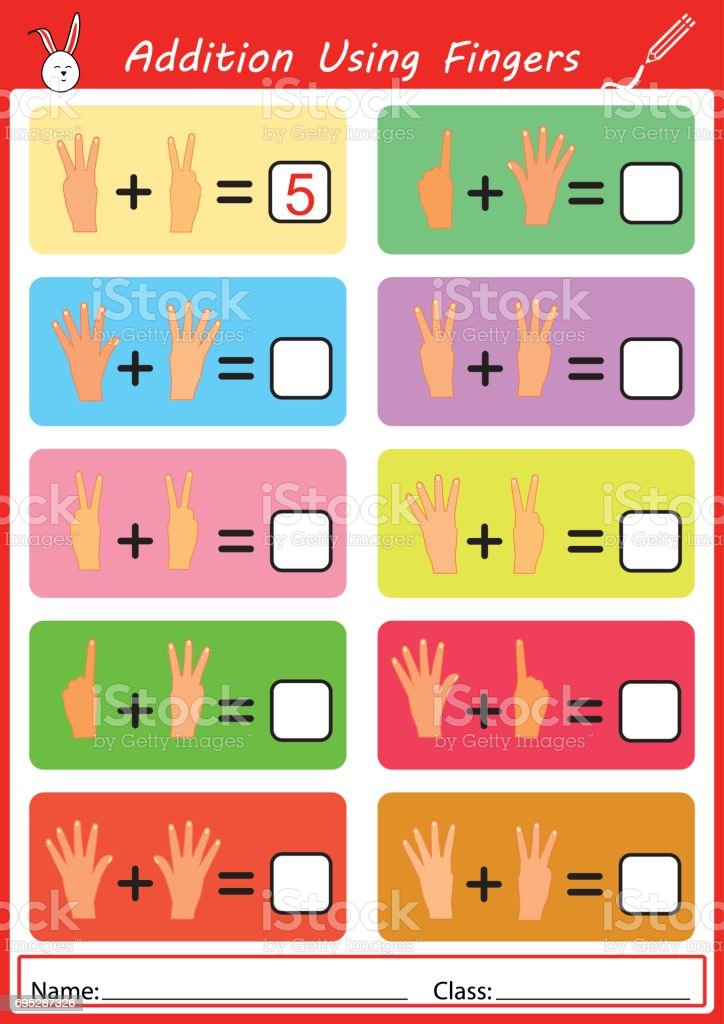 addition the fingers and write the correct answer vector art illustration