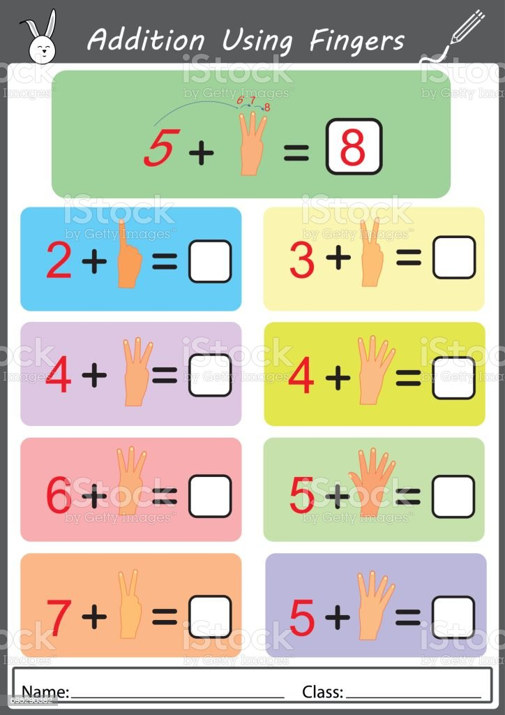 addition using fingers, math worksheet for children vector art illustration