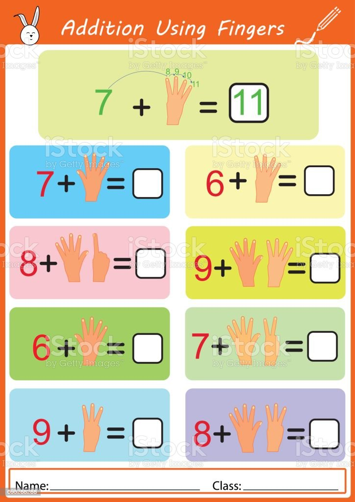 addition using fingers, math worksheet for kids vector art illustration