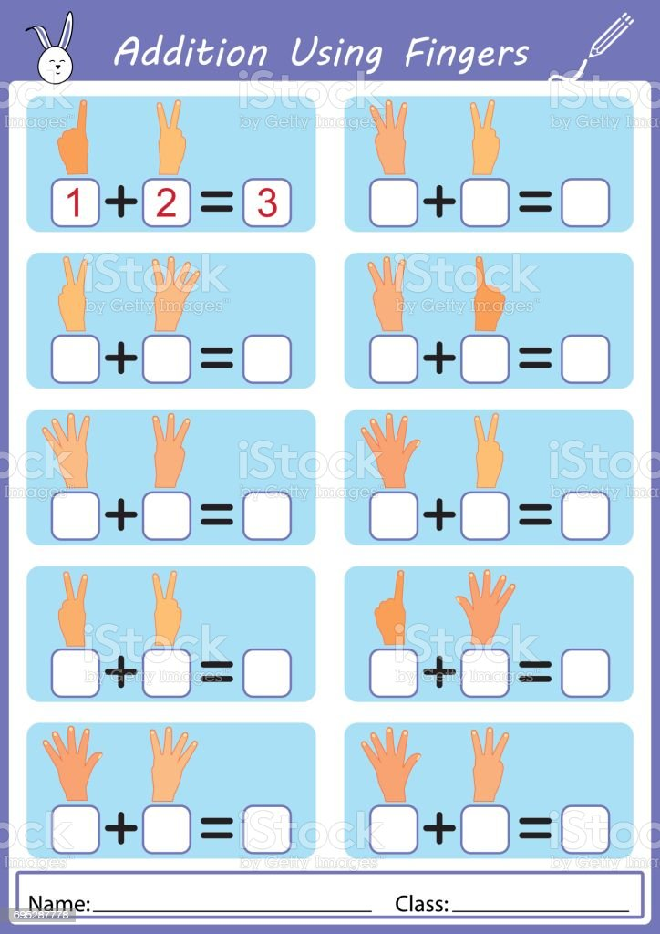 addition using fingers, worksheet vector art illustration