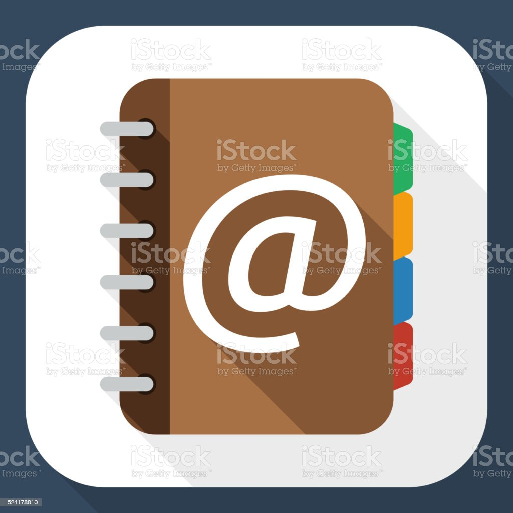 Address book flat icon with long shadow vector art illustration