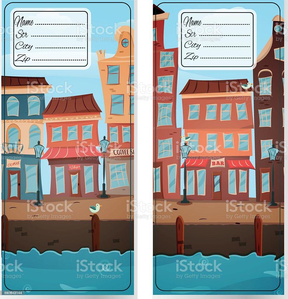 Address card with city stock vecteur libres de droits libre de droits