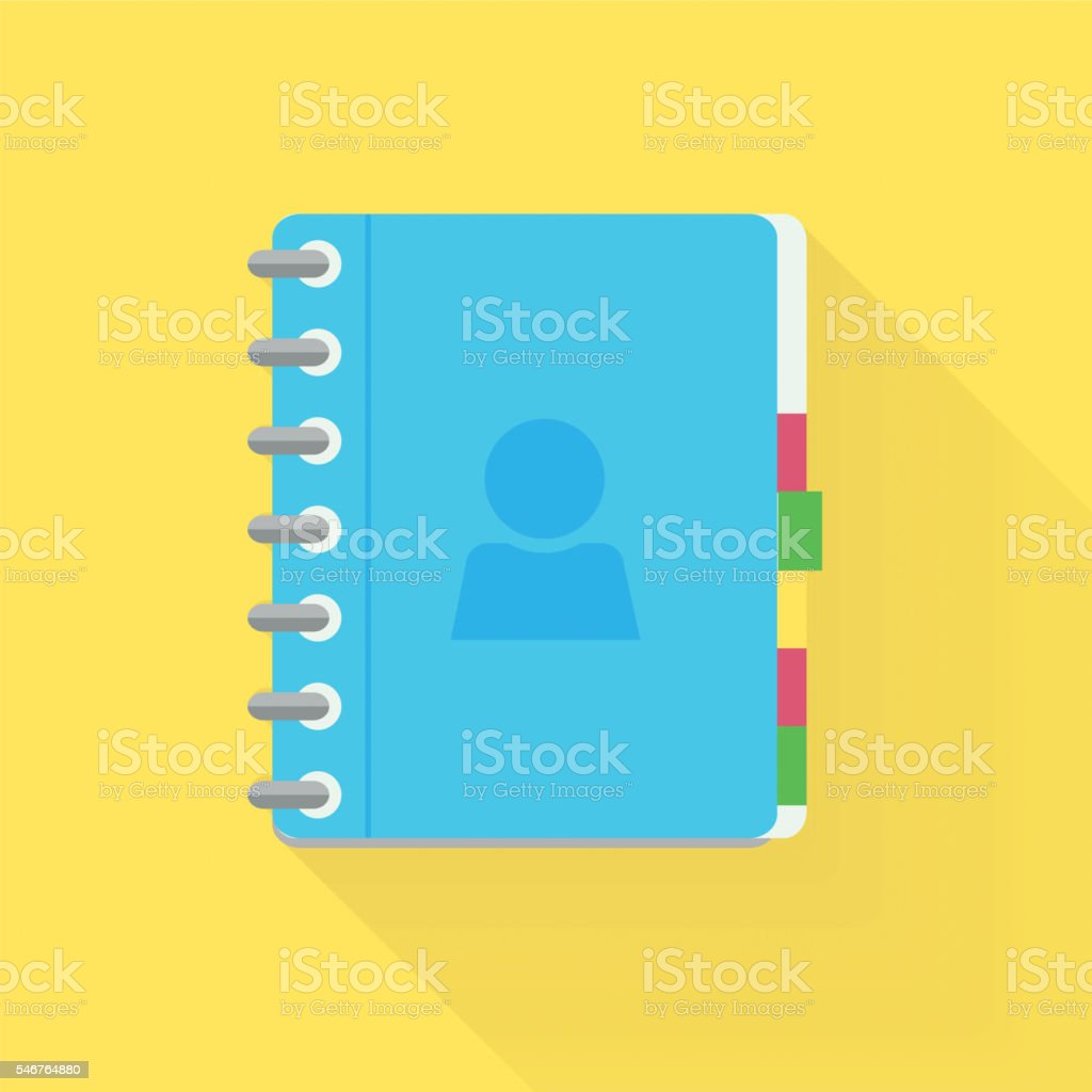 Address phone book, notebook icon. Flat style design. vector art illustration