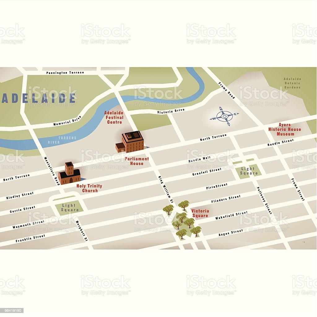 Adelaide, SA, Australia Map royalty-free stock vector art