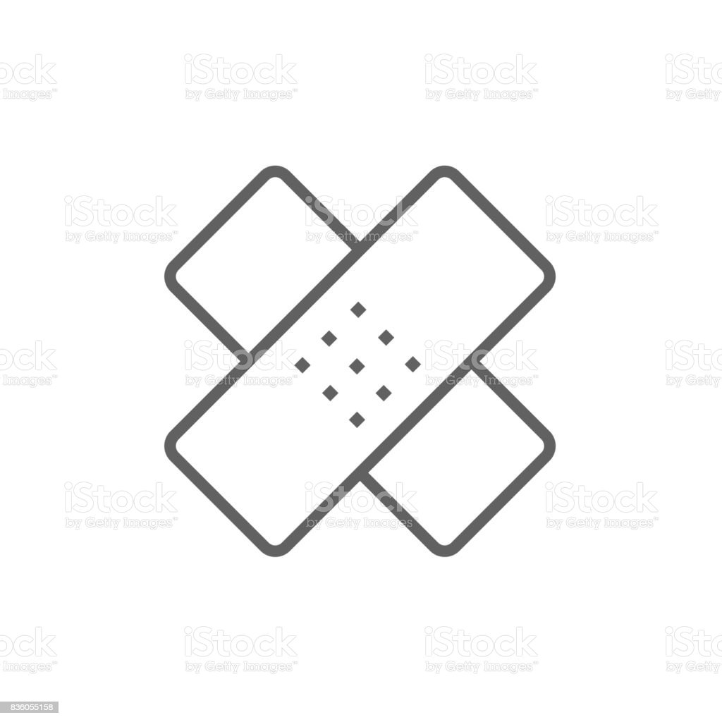 Adhesive bandages line icon vector art illustration