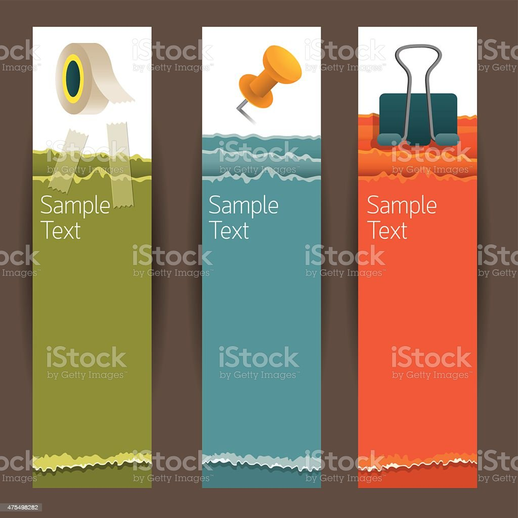 Adhesive Tape, Paperclip, Pin, Office and Stationery Banner vector art illustration