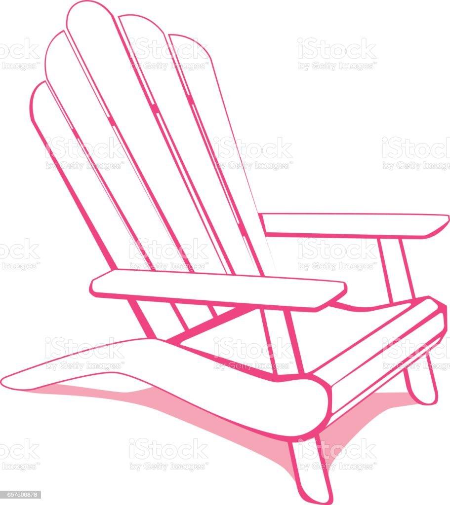 Adirondack beach chair vector art illustration