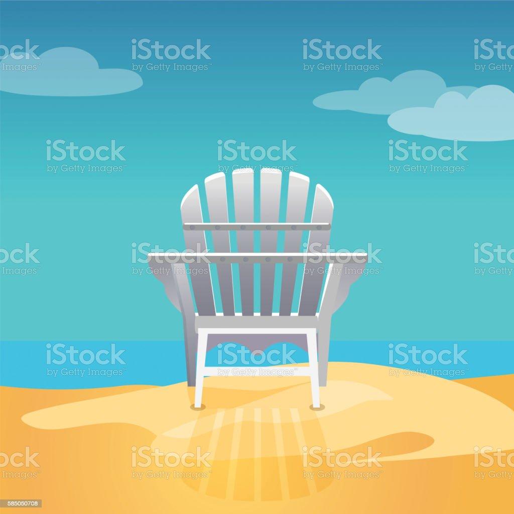 Adirondack chair on the sea beach standing on yellow sand vector art illustration
